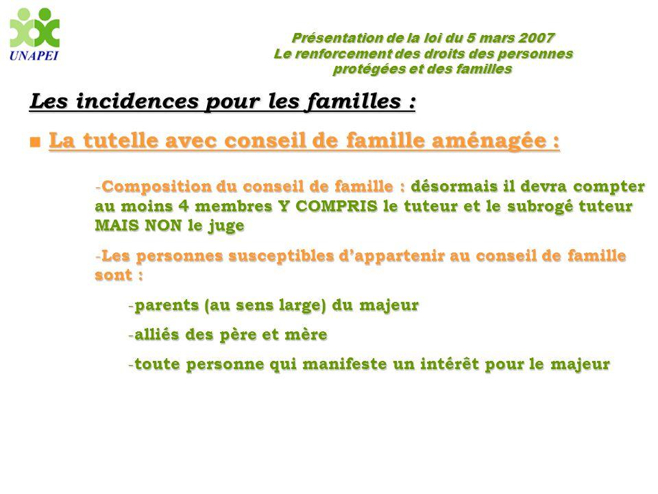 Présentation de la loi du 5 mars 2007 Le renforcement des droits des personnes protégées et des familles Les incidences pour les familles : La tutelle