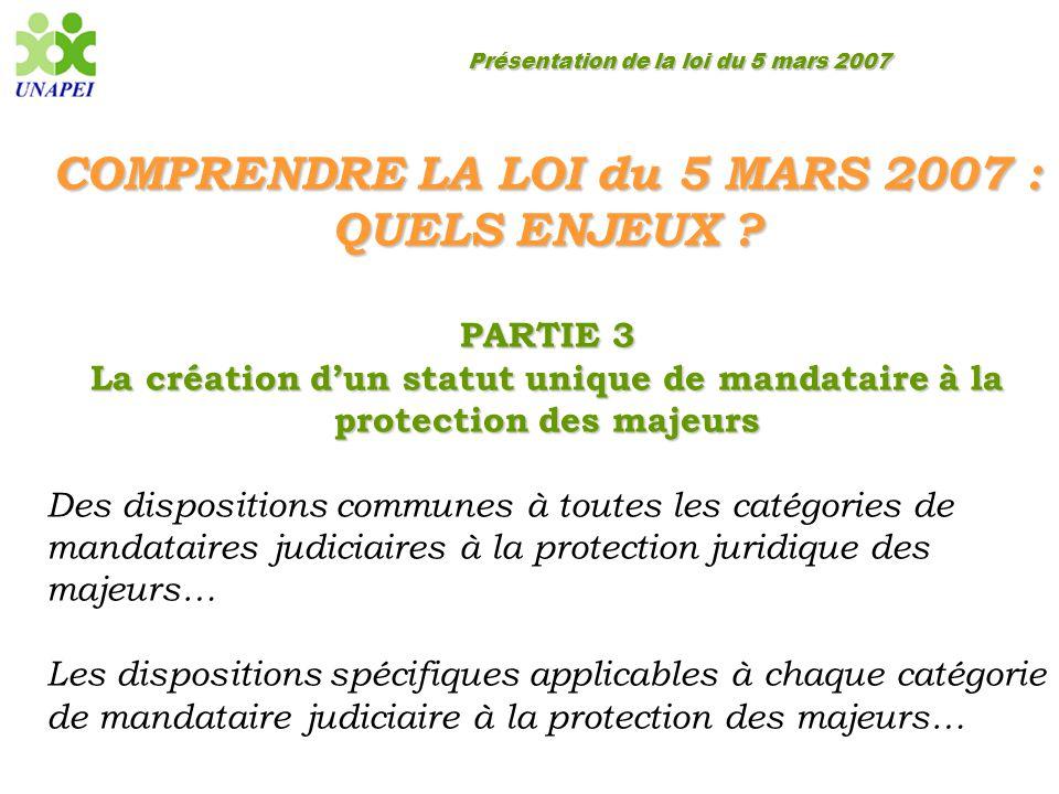 Présentation de la loi du 5 mars 2007 COMPRENDRE LA LOI du 5 MARS 2007 : QUELS ENJEUX ? PARTIE 3 La création d'un statut unique de mandataire à la pro