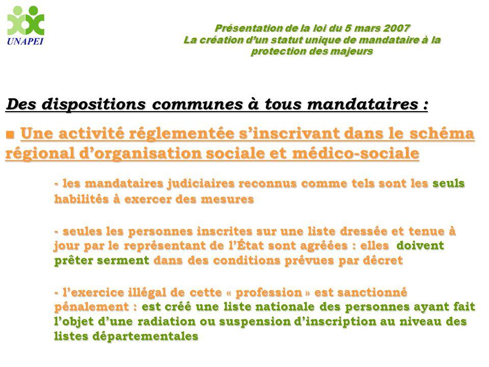 Présentation de la loi du 5 mars 2007 La création d'un statut unique de mandataire à la protection des majeurs Des dispositions communes à tous mandat