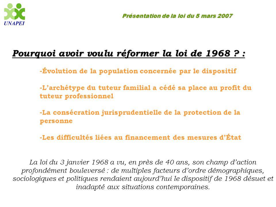 Présentation de la loi du 5 mars 2007 Pourquoi avoir voulu réformer la loi de 1968 ? : -Évolution de la population concernée par le dispositif -L'arch