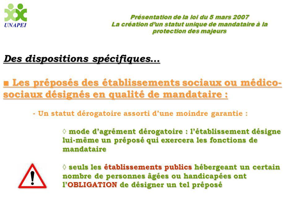 Présentation de la loi du 5 mars 2007 La création d'un statut unique de mandataire à la protection des majeurs Des dispositions spécifiques… ■ Les pré