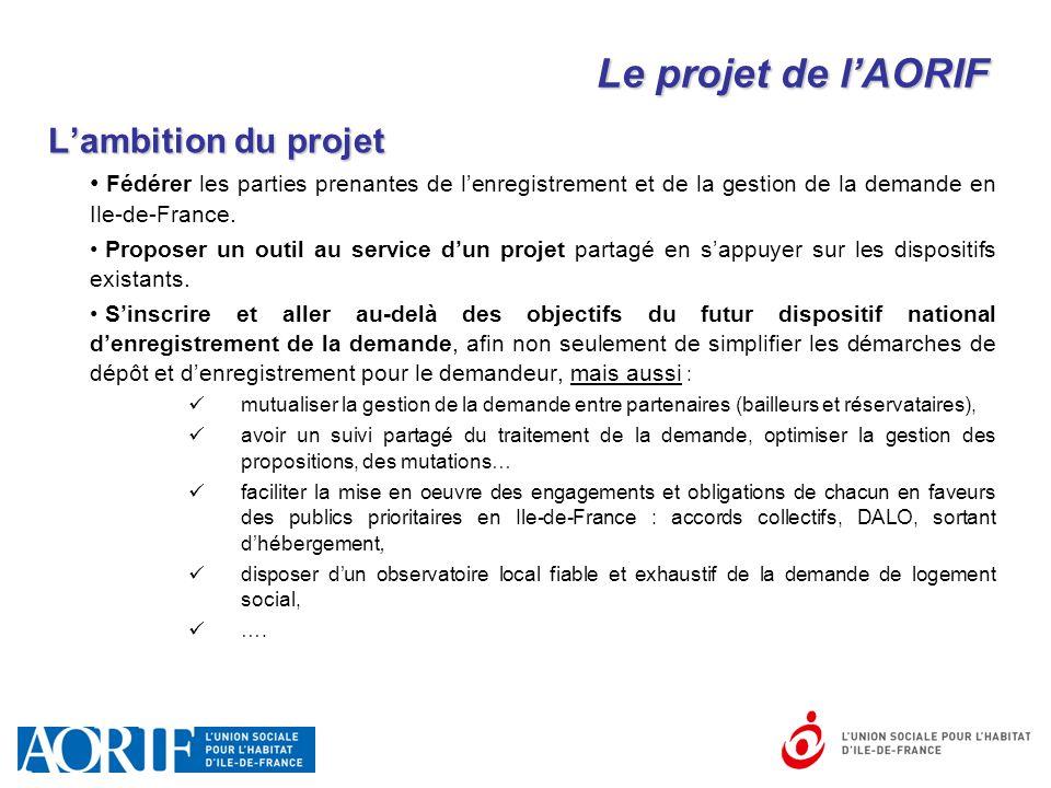 Le projet de l'AORIF L'ambition du projet Fédérer les parties prenantes de l'enregistrement et de la gestion de la demande en Ile-de-France. Proposer