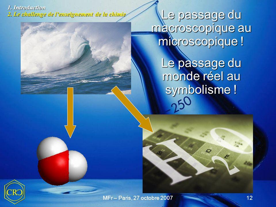 MFr – Paris, 27 octobre 200712 Le passage du macroscopique au microscopique ! Le passage du monde réel au symbolisme ! 1. Introduction 2. Le challenge