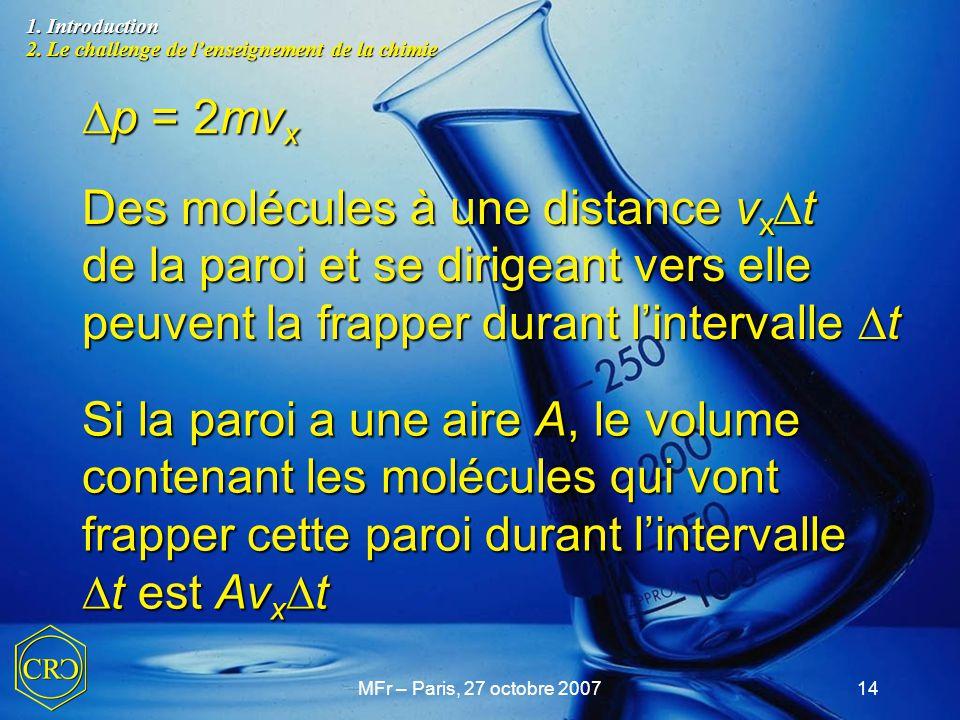 MFr – Paris, 27 octobre 200714  p = 2mv x Des molécules à une distance v x  t de la paroi et se dirigeant vers elle peuvent la frapper durant l'inte
