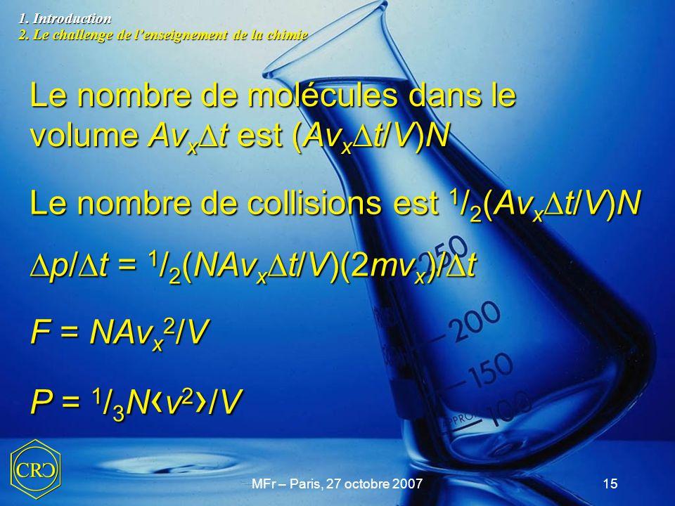 MFr – Paris, 27 octobre 200715 Le nombre de molécules dans le volume Av x  t est (Av x  t/V)N Le nombre de collisions est 1 / 2 (Av x  t/V)N  p/ 