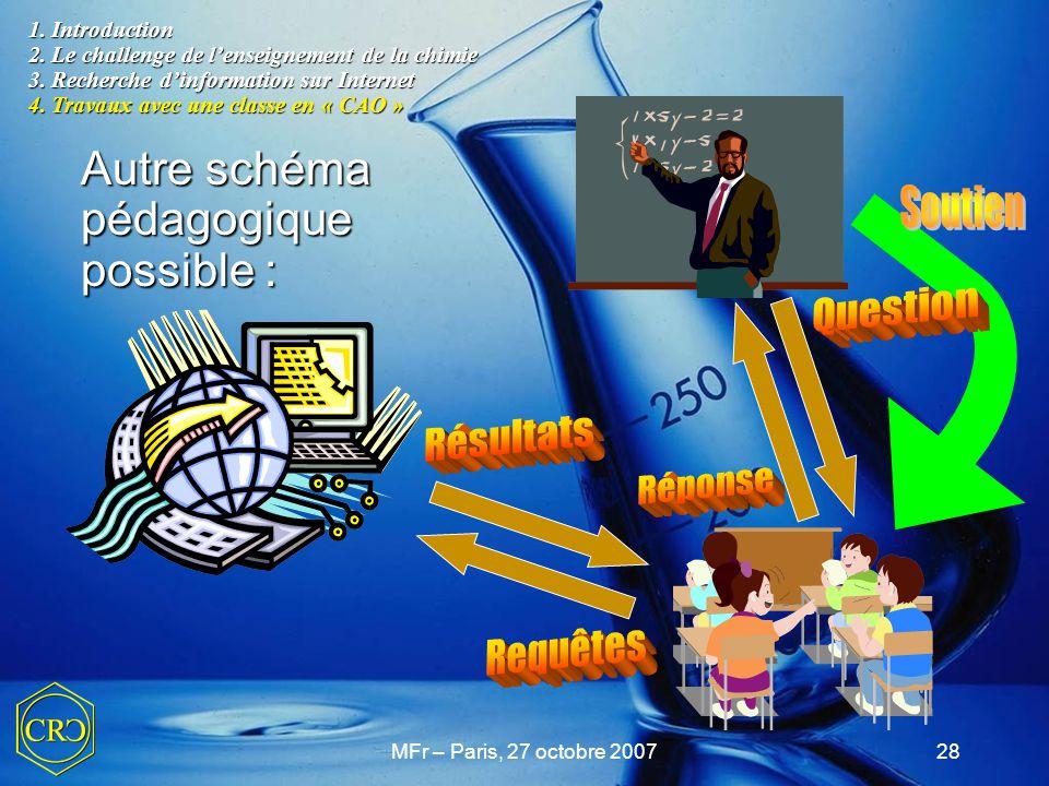 MFr – Paris, 27 octobre 200728 1. Introduction 2. Le challenge de l'enseignement de la chimie 3. Recherche d'information sur Internet 4. Travaux avec