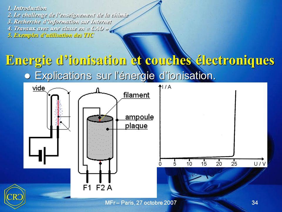 MFr – Paris, 27 octobre 200734 Energie d'ionisation et couches électroniques Explications sur l'énergie d'ionisation. Explications sur l'énergie d'ion