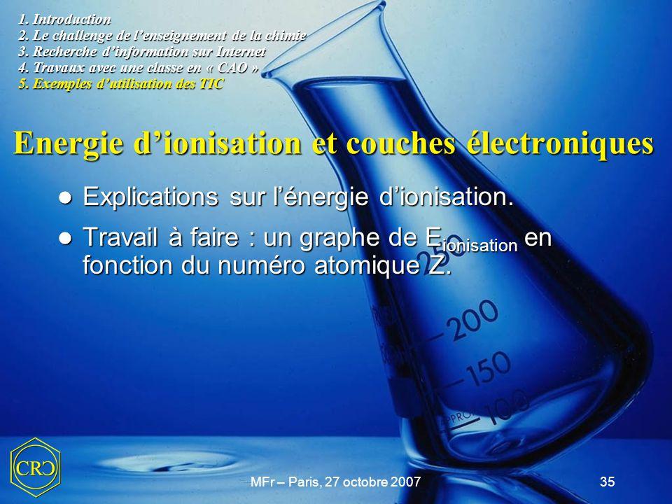 MFr – Paris, 27 octobre 200735 Explications sur l'énergie d'ionisation. Explications sur l'énergie d'ionisation. Travail à faire : un graphe de E ioni
