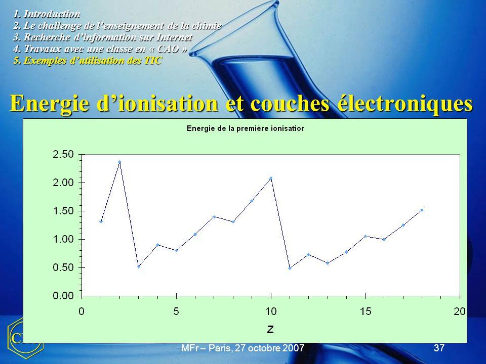 MFr – Paris, 27 octobre 200737 Energie d'ionisation et couches électroniques Explications sur l'énergie d'ionisation. Explications sur l'énergie d'ion