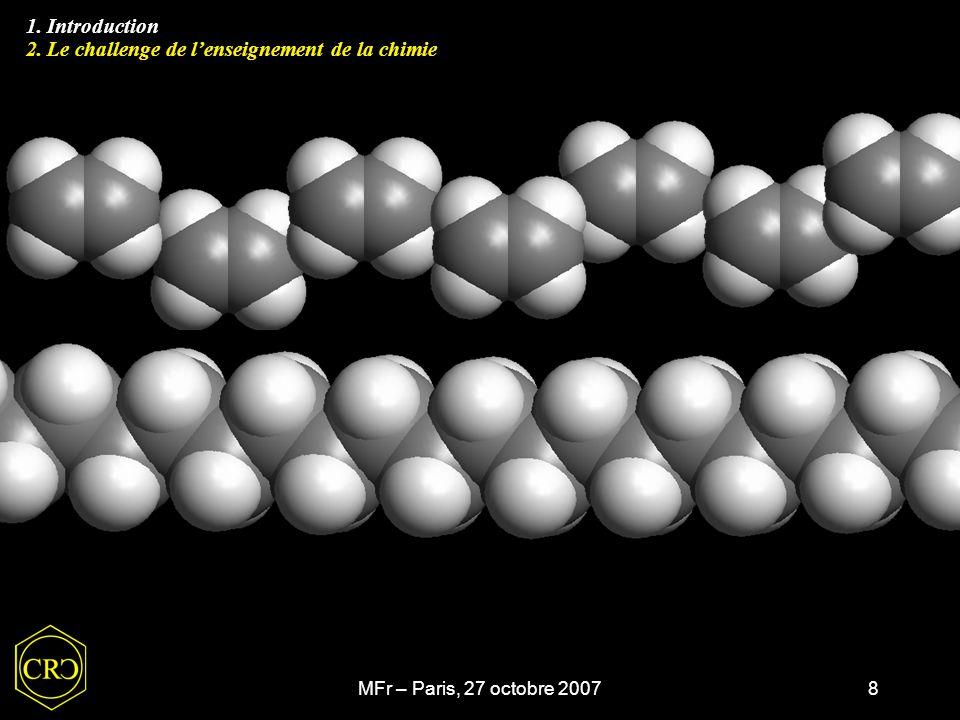 MFr – Paris, 27 octobre 20078 1. Introduction 1. Introduction 2. Le challenge de l'enseignement de la chimie