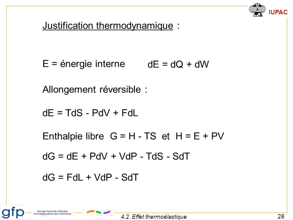IUPAC 28 4.2. Effet thermoélastique Justification thermodynamique : E = énergie interne Allongement réversible : dE = TdS - PdV + FdL Enthalpie libre