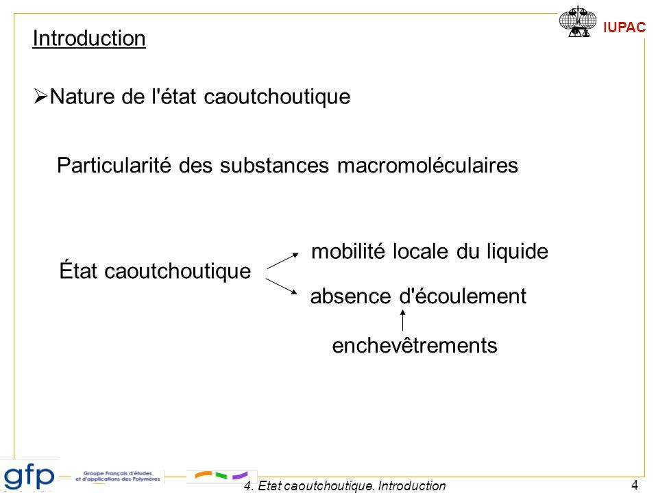 IUPAC 4 4. Etat caoutchoutique. Introduction  Nature de l'état caoutchoutique Introduction État caoutchoutique mobilité locale du liquide absence d'é