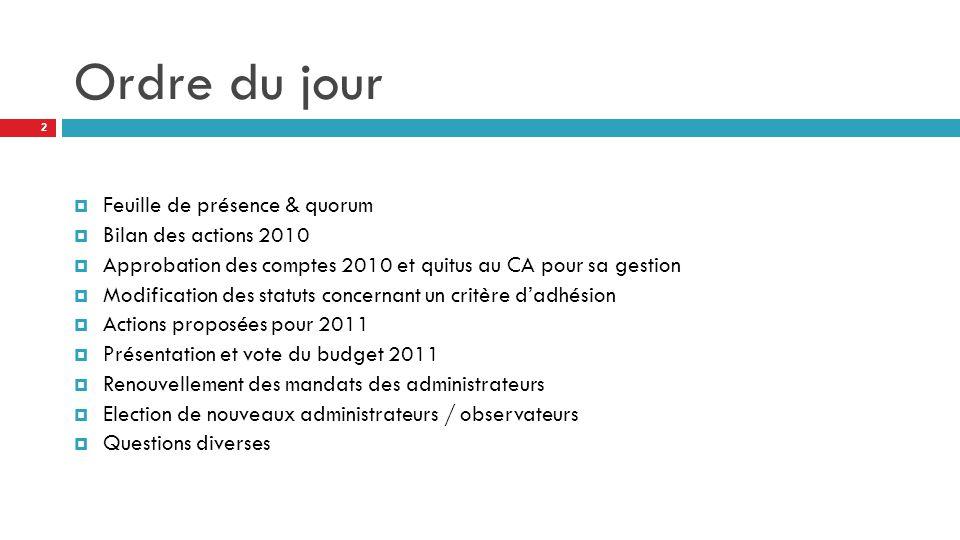 Ordre du jour  Feuille de présence & quorum  Bilan des actions 2010  Approbation des comptes 2010 et quitus au CA pour sa gestion  Modification de