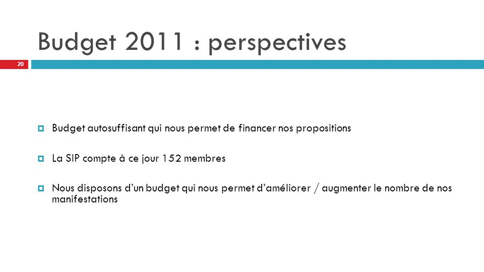 Budget 2011 : perspectives  Budget autosuffisant qui nous permet de financer nos propositions  La SIP compte à ce jour 152 membres  Nous disposons d'un budget qui nous permet d'améliorer / augmenter le nombre de nos manifestations 20