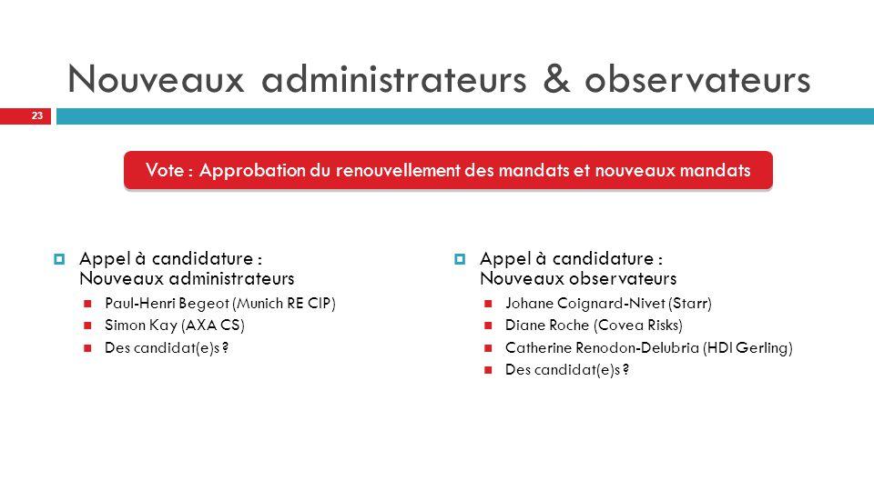 Nouveaux administrateurs & observateurs  Appel à candidature : Nouveaux administrateurs Paul-Henri Begeot (Munich RE CIP) Simon Kay (AXA CS) Des candidat(e)s .