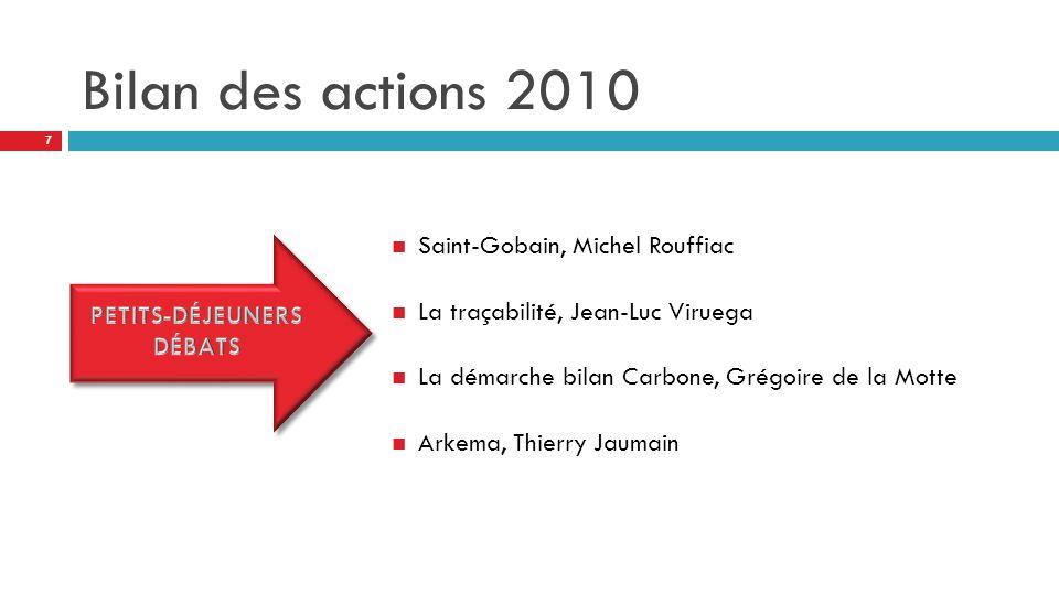 Bilan des actions 2010 Saint-Gobain, Michel Rouffiac La traçabilité, Jean-Luc Viruega La démarche bilan Carbone, Grégoire de la Motte Arkema, Thierry Jaumain 7