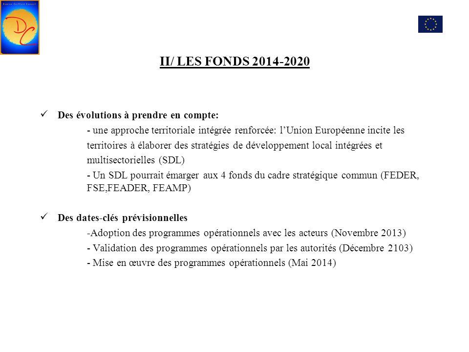 II/ LES FONDS 2014-2020 Des évolutions à prendre en compte: - une approche territoriale intégrée renforcée: l'Union Européenne incite les territoires