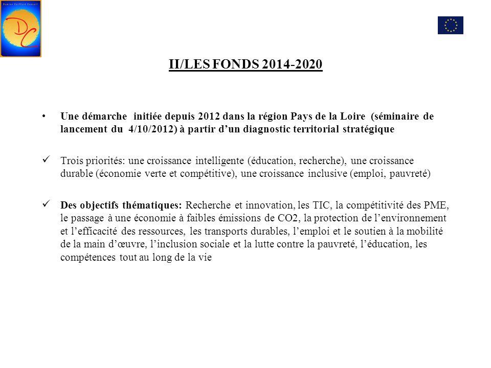 II/LES FONDS 2014-2020 Une démarche initiée depuis 2012 dans la région Pays de la Loire (séminaire de lancement du 4/10/2012) à partir d'un diagnostic