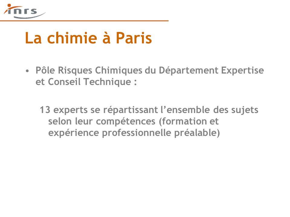 La chimie à Paris Pôle Risques Chimiques du Département Expertise et Conseil Technique : 13 experts se répartissant l'ensemble des sujets selon leur compétences (formation et expérience professionnelle préalable)