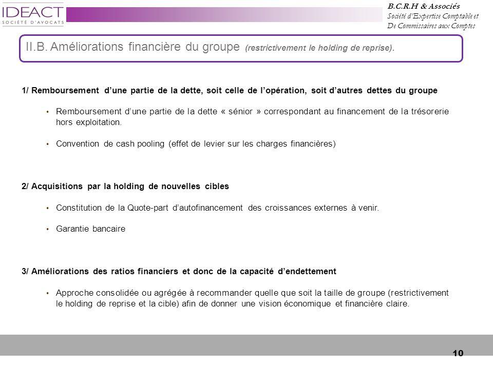 10 1/ Remboursement d'une partie de la dette, soit celle de l'opération, soit d'autres dettes du groupe Remboursement d'une partie de la dette « sénior » correspondant au financement de la trésorerie hors exploitation.