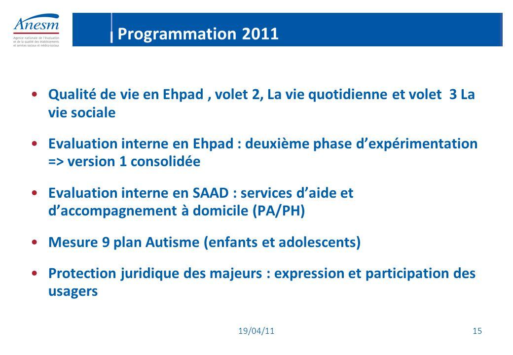 19/04/11 15 Programmation 2011 Qualité de vie en Ehpad, volet 2, La vie quotidienne et volet 3 La vie sociale Evaluation interne en Ehpad : deuxième p