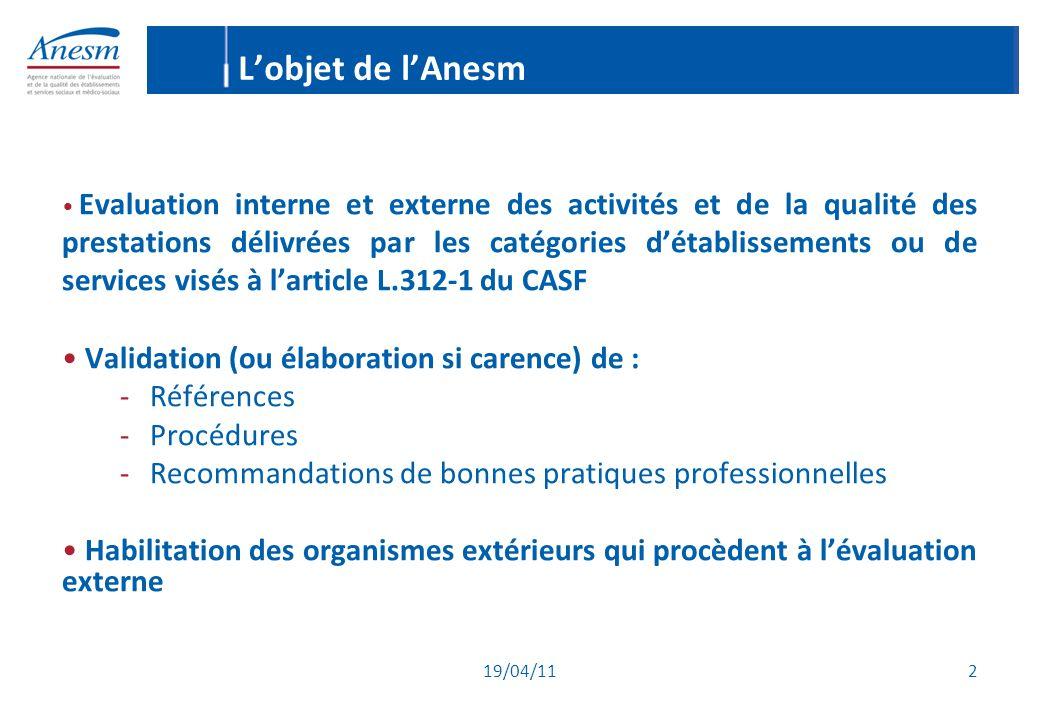 19/04/11 2 L'objet de l'Anesm Evaluation interne et externe des activités et de la qualité des prestations délivrées par les catégories d'établissemen