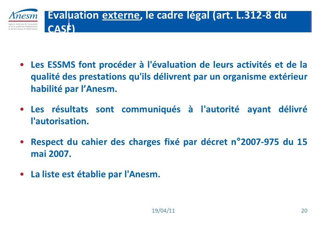 19/04/11 20 Evaluation externe, le cadre légal (art. L.312-8 du CASF) Les ESSMS font procéder à l'évaluation de leurs activités et de la qualité des p
