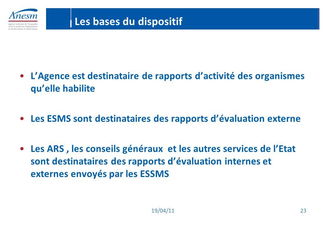 19/04/11 23 Les bases du dispositif L'Agence est destinataire de rapports d'activité des organismes qu'elle habilite Les ESMS sont destinataires des r
