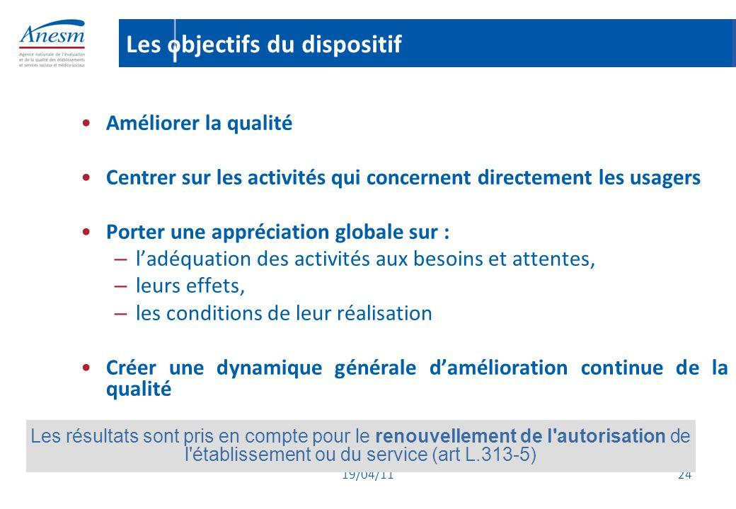 19/04/11 24 Les objectifs du dispositif Améliorer la qualité Centrer sur les activités qui concernent directement les usagers Porter une appréciation