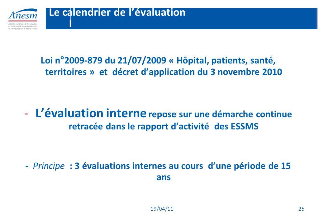 19/04/11 25 Le calendrier de l'évaluation Loi n°2009-879 du 21/07/2009 « Hôpital, patients, santé, territoires » et décret d'application du 3 novembre