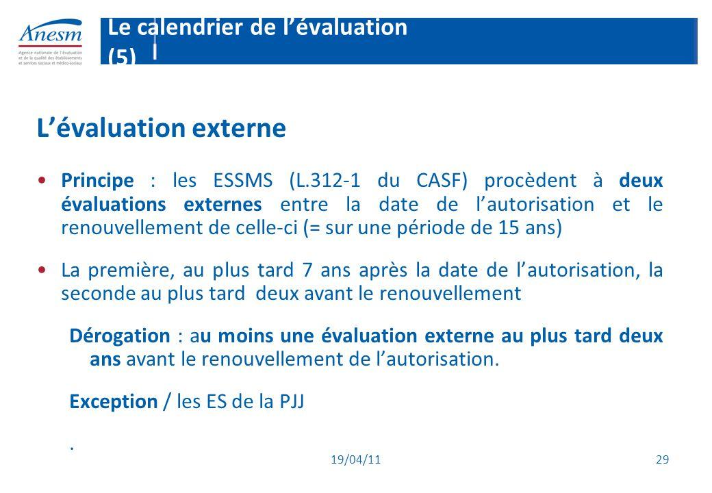 19/04/11 29 Le calendrier de l'évaluation (5) L'évaluation externe Principe : les ESSMS (L.312-1 du CASF) procèdent à deux évaluations externes entre