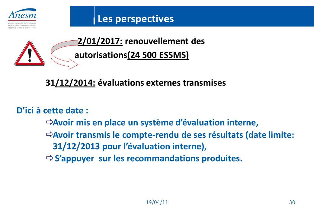 19/04/11 30 2/01/2017: renouvellement des autorisations(24 500 ESSMS) 31/12/2014: évaluations externes transmises D'ici à cette date :  Avoir mis en