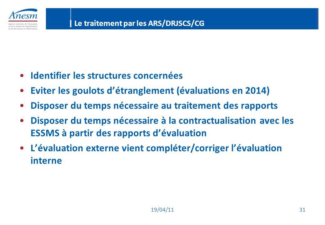 19/04/11 31 Le traitement par les ARS/DRJSCS/CG Identifier les structures concernées Eviter les goulots d'étranglement (évaluations en 2014) Disposer