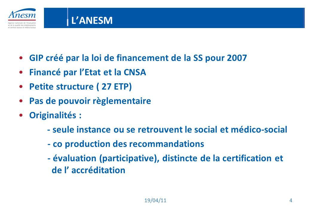 19/04/11 4 L'ANESM GIP créé par la loi de financement de la SS pour 2007 Financé par l'Etat et la CNSA Petite structure ( 27 ETP) Pas de pouvoir règle