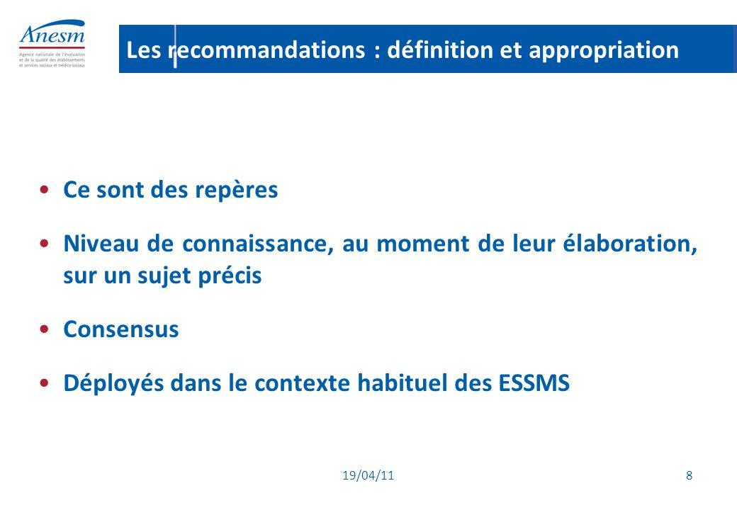 19/04/11 29 Le calendrier de l'évaluation (5) L'évaluation externe Principe : les ESSMS (L.312-1 du CASF) procèdent à deux évaluations externes entre la date de l'autorisation et le renouvellement de celle-ci (= sur une période de 15 ans) La première, au plus tard 7 ans après la date de l'autorisation, la seconde au plus tard deux avant le renouvellement Dérogation : au moins une évaluation externe au plus tard deux ans avant le renouvellement de l'autorisation.