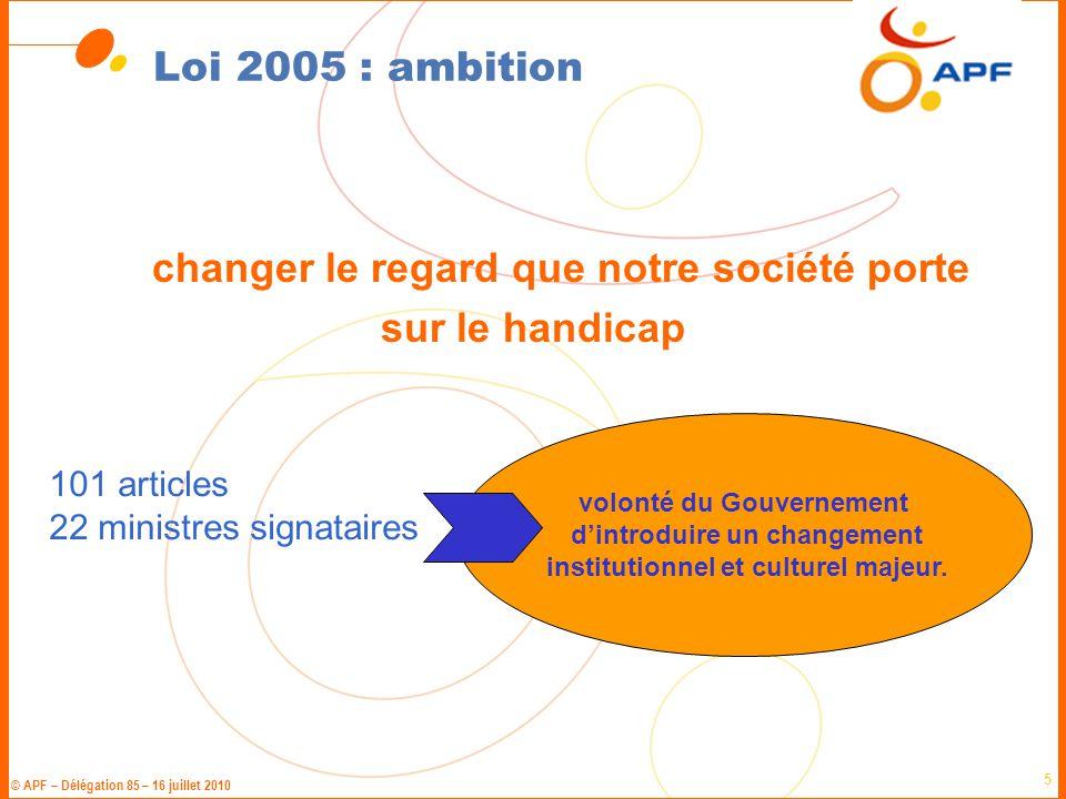 © APF – Délégation 85 – 16 juillet 2010 6 Loi 2005 : 4 piliers L'accessibilité pour tous sans exclusion l'accessibilité de l'ensemble de la chaîne des déplacements des changements progressifs jusqu'en 2015 la concertation
