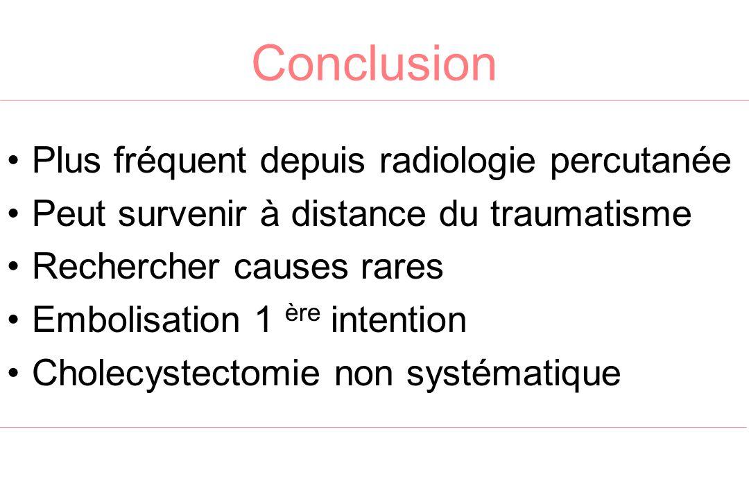 Conclusion Plus fréquent depuis radiologie percutanée Peut survenir à distance du traumatisme Rechercher causes rares Embolisation 1 ère intention Cho