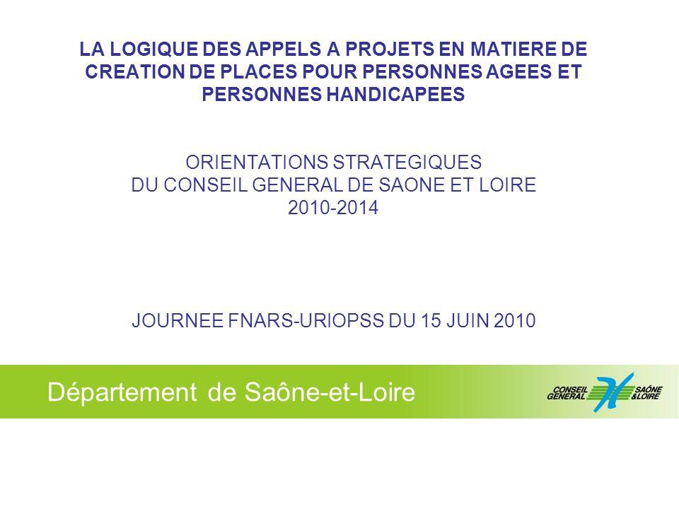 © cg71 - Département de Saône-et-Loire 12 Les principes directeurs des futurs appels à projets sur le secteur PA (rapport mars 2010) : déclinaison par bassins de vie (10) rééquilibrage des taux d'équipements entre territoires, traitement des zones blanches création de places médicalisées qui passent de 7434 à 8648 (rattrapage taux régional) 155 places identifiées (extension / PRIAC) et 381(+206) places d'Appels A Projets (AAP) Spécifications des AAP : – 47% de places habilitées aide sociale, 30% de places en structures alternatives, 27% de places Alzheimer, 13% de places d'hébergement temporaire – EHPAD taille humaine – Tarifs cibles sur l'hébergement, critères de coûts et de ratios – Objectifs précis sur accueils des Gir 1 et 2 – AAP spécifiques EHPA