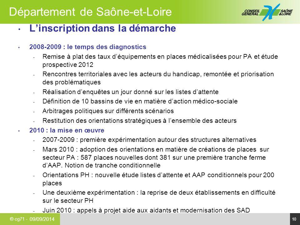 © cg71 - Département de Saône-et-Loire 10 L'inscription dans la démarche 2008-2009 : le temps des diagnostics - Remise à plat des taux d'équipements e