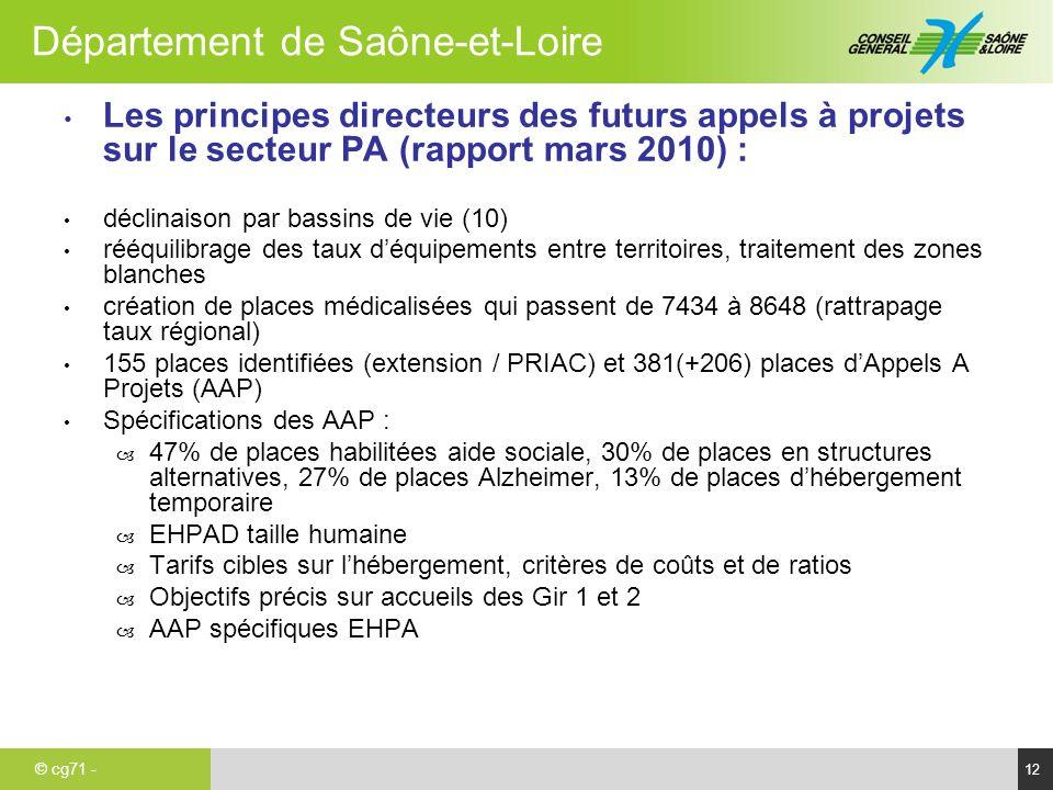 © cg71 - Département de Saône-et-Loire 12 Les principes directeurs des futurs appels à projets sur le secteur PA (rapport mars 2010) : déclinaison par