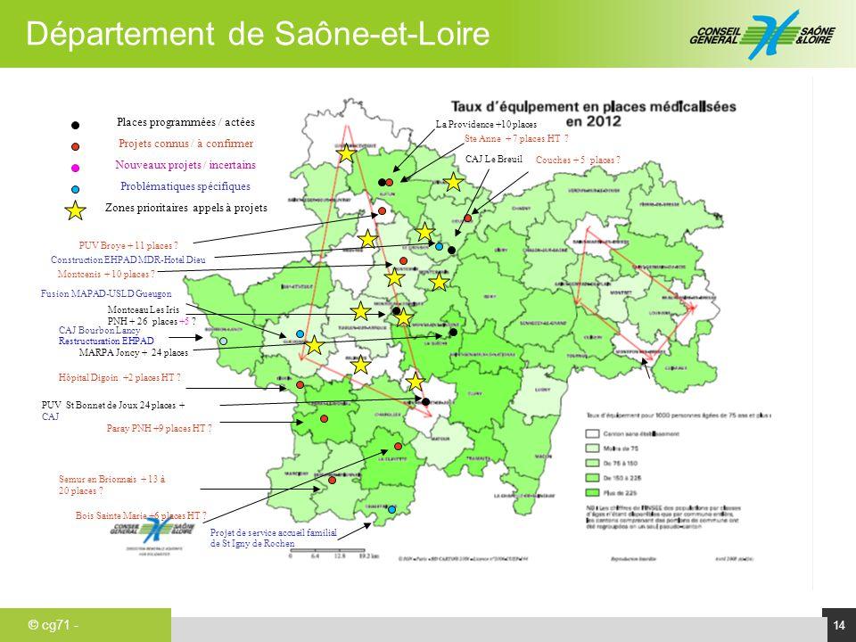 © cg71 - Département de Saône-et-Loire 14 a Ste Anne + 7 places HT ? Couches + 5 places ? MARPA Joncy + 24 places La Providence +10 places Constructio