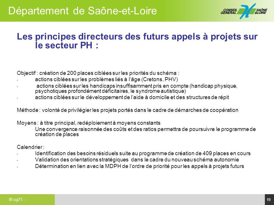 © cg71 - Département de Saône-et-Loire 19 Les principes directeurs des futurs appels à projets sur le secteur PH : Objectif : création de 200 places c