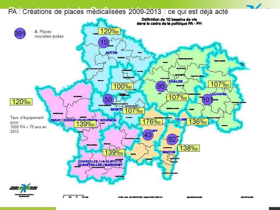 © cg71 - Département de Saône-et-Loire 7 10 391 A. Places nouvelles actées PA : Créations de places médicalisées 2009-2013 : ce qui est déjà acté 5010