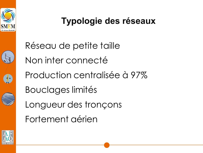Typologie des réseaux Réseau de petite taille Non inter connecté Production centralisée à 97% Bouclages limités Longueur des tronçons Fortement aérien