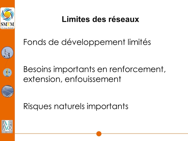 Limites des réseaux Fonds de développement limités Besoins importants en renforcement, extension, enfouissement Risques naturels importants
