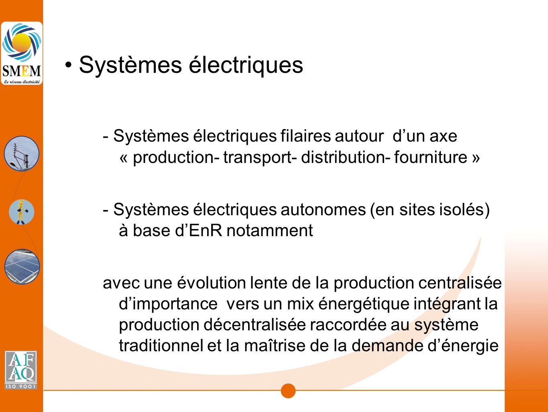 Systèmes électriques - Systèmes électriques filaires autour d'un axe « production- transport- distribution- fourniture » - Systèmes électriques autonomes (en sites isolés) à base d'EnR notamment avec une évolution lente de la production centralisée d'importance vers un mix énergétique intégrant la production décentralisée raccordée au système traditionnel et la maîtrise de la demande d'énergie