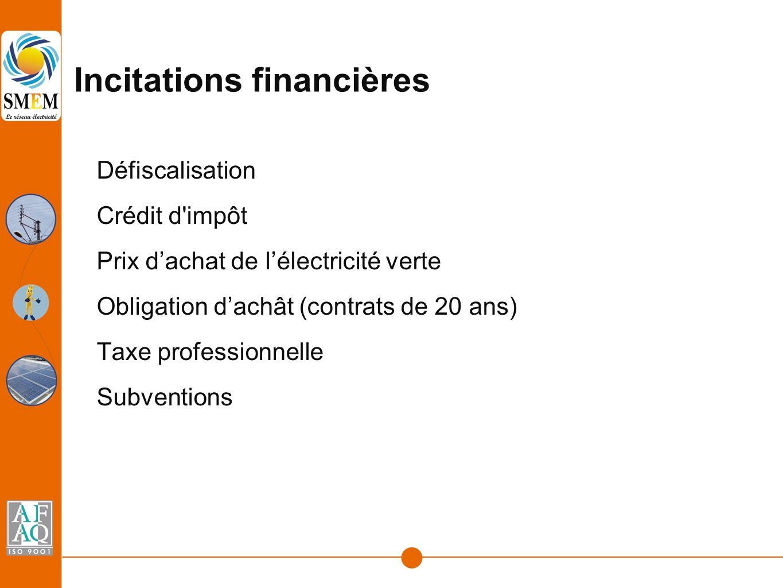 Incitations financières Défiscalisation Crédit d impôt Prix d'achat de l'électricité verte Obligation d'achât (contrats de 20 ans) Taxe professionnelle Subventions