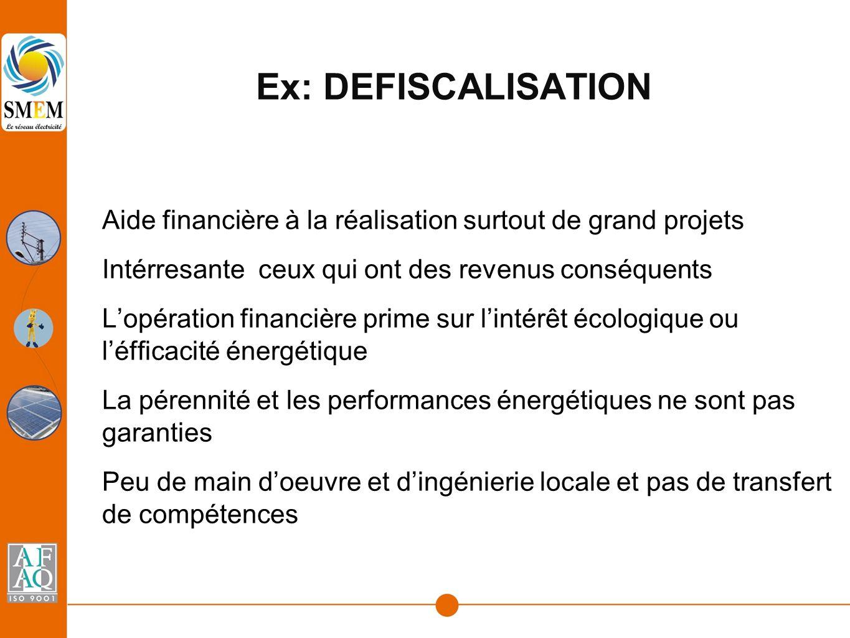Ex: DEFISCALISATION Aide financière à la réalisation surtout de grand projets Intérresante ceux qui ont des revenus conséquents L'opération financière