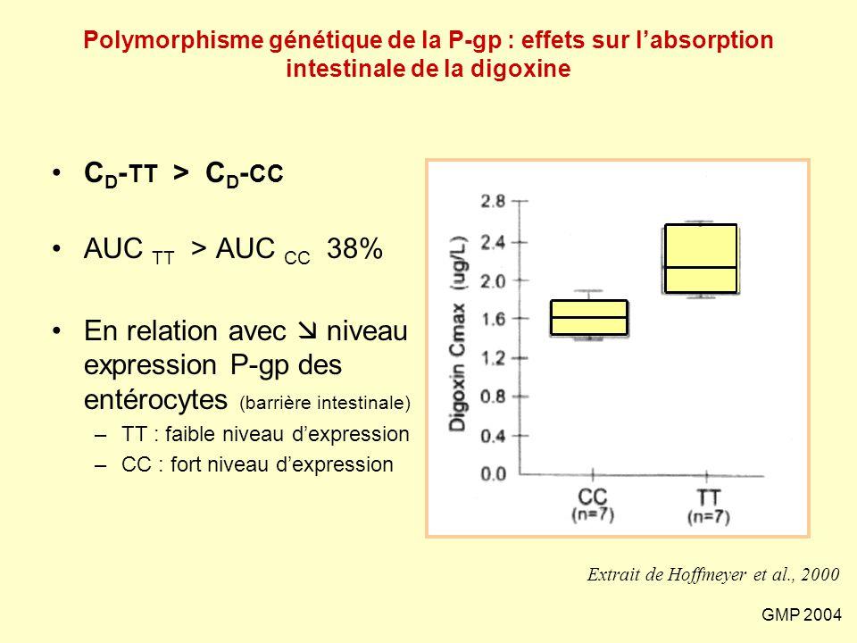 GMP 2004 Polymorphisme génétique de la P-gp : effets sur l'absorption intestinale de la digoxine C D - TT > C D - CC AUC TT > AUC CC 38% En relation a