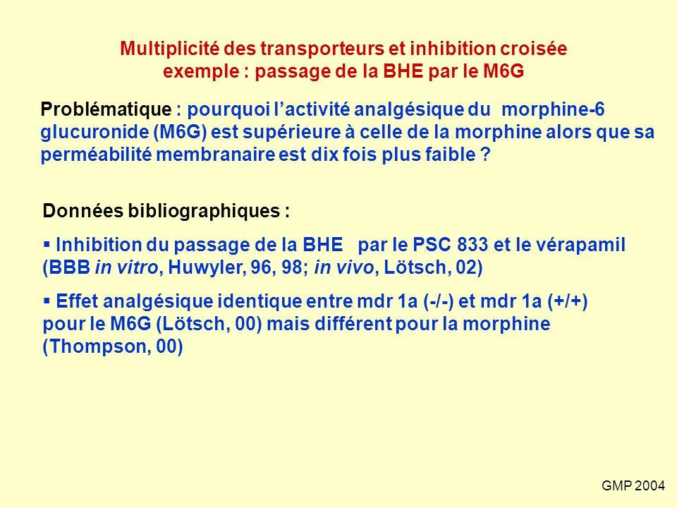 GMP 2004 Multiplicité des transporteurs et inhibition croisée exemple : passage de la BHE par le M6G Problématique : pourquoi l'activité analgésique d